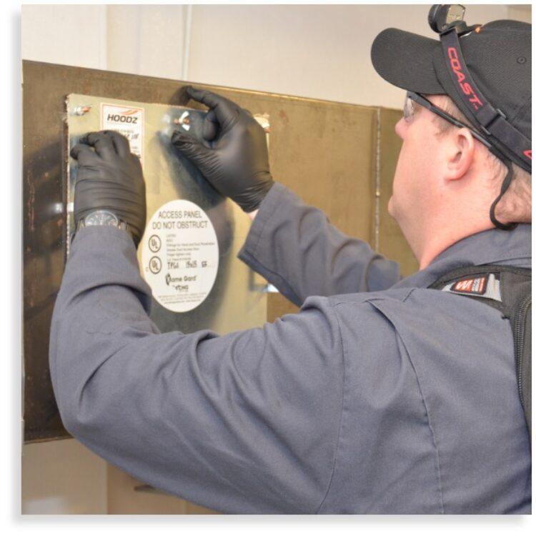 Exhaust fan access panel installation