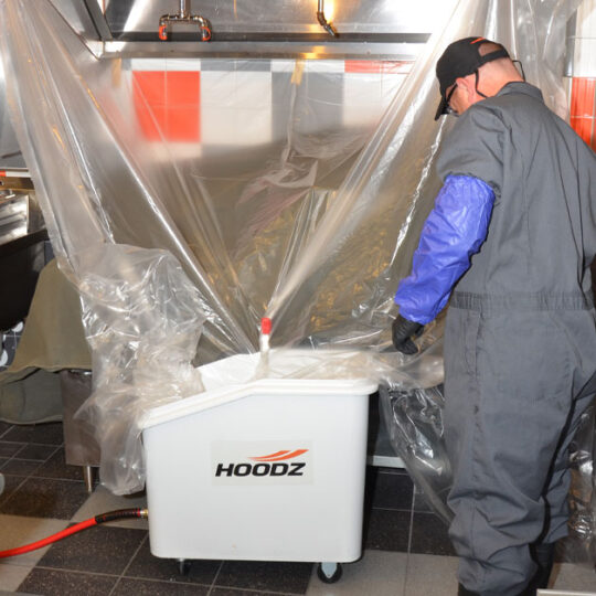 HOODZ uses plastic lining to contain the mess when cleaning