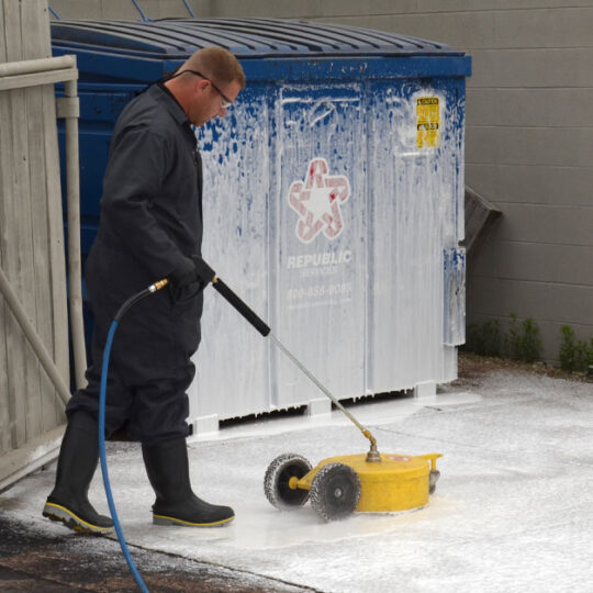 HOODZ performing professional concrete cleaning